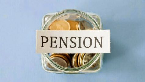 A pot of money labelled pensions