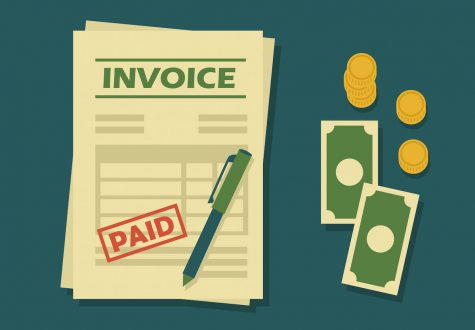 illustration with an invoice and money